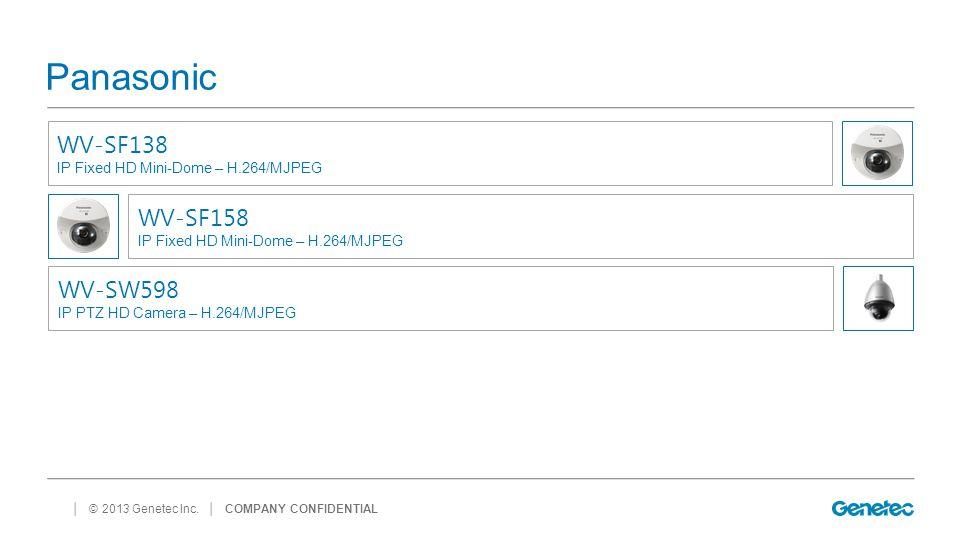 │ © 2013 Genetec Inc. Panasonic │ COMPANY CONFIDENTIAL WV-SF138 IP Fixed HD Mini-Dome – H.264/MJPEG WV-SF158 IP Fixed HD Mini-Dome – H.264/MJPEG WV-SW