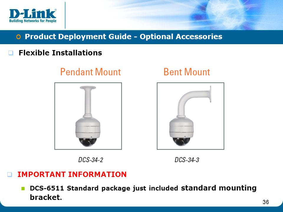 36 o Product Deployment Guide - Optional Accessories  Flexible Installations  IMPORTANT INFORMATION DCS-6511 Standard package just included standard