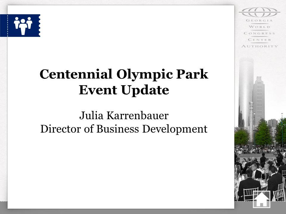 Centennial Olympic Park Event Update Julia Karrenbauer Director of Business Development