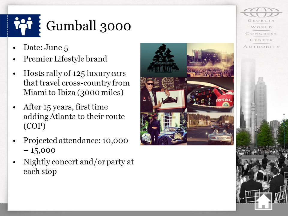 Gumball 3000 Date: June 5 Premier Lifestyle brand Hosts rally of 125 luxury cars that travel cross-country from Miami to Ibiza (3000 miles) After 15 years, first time adding Atlanta to their route (COP) Projected attendance: 10,000 – 15,000 Nightly concert and/or party at each stop