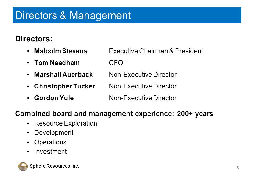 Sphere Resources Inc. Directors & Management Directors: Malcolm Stevens Executive Chairman & President Tom Needham CFO Marshall AuerbackNon-Executive