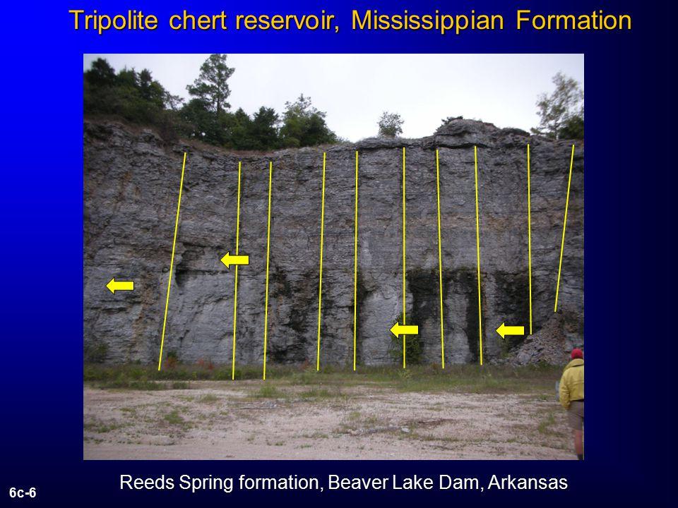 6c-6 Reeds Spring formation, Beaver Lake Dam, Arkansas Tripolite chert reservoir, Mississippian Formation