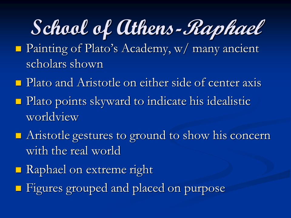 School of Athens-Raphael Painting of Plato's Academy, w/ many ancient scholars shown Painting of Plato's Academy, w/ many ancient scholars shown Plato