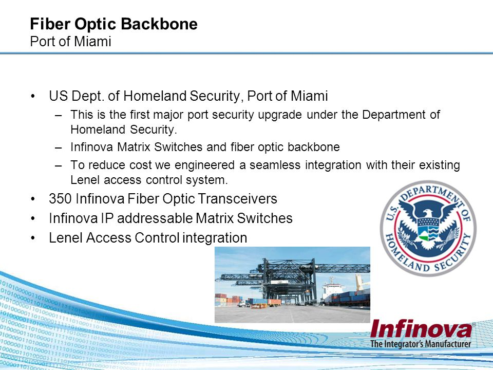 Fiber Optic Backbone Port of Miami US Dept. of Homeland Security, Port of Miami –This is the first major port security upgrade under the Department of