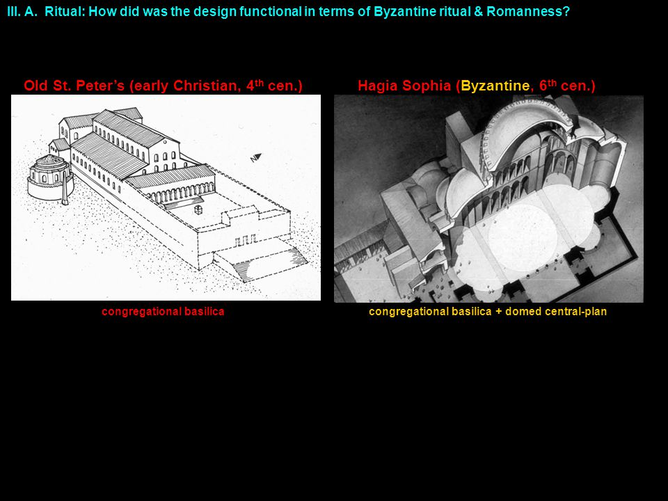 III. A. Ritual: How did was the design functional in terms of Byzantine ritual & Romanness.
