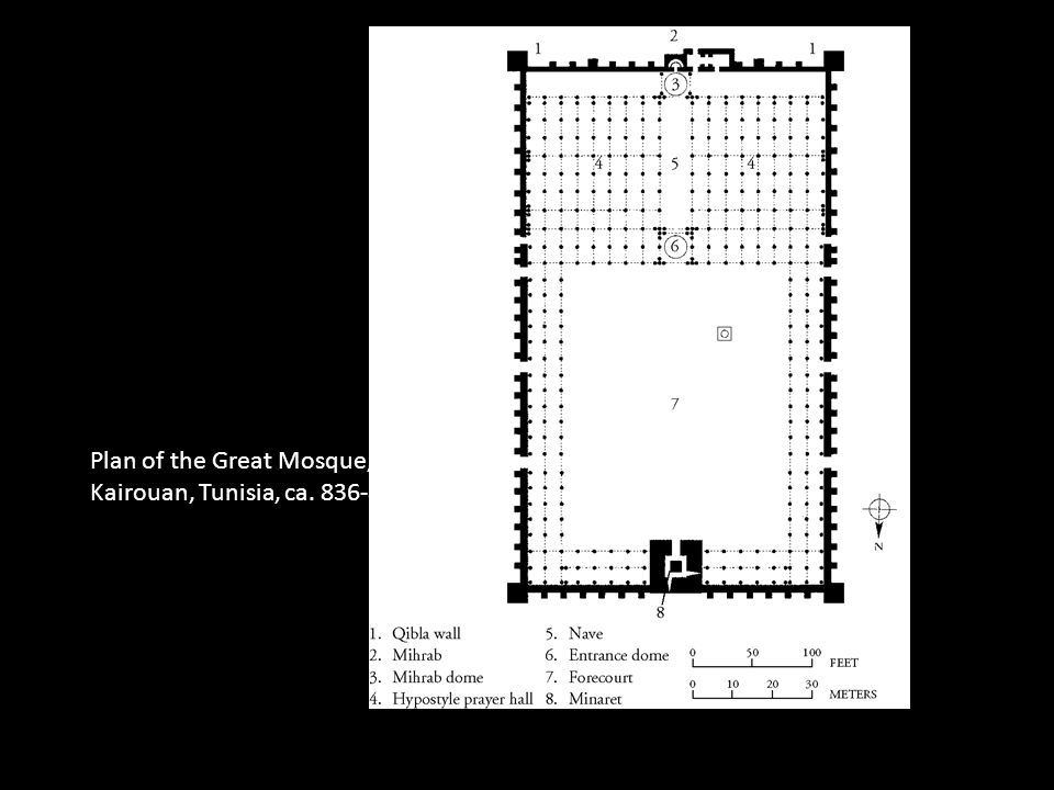 Plan of the Great Mosque, Kairouan, Tunisia, ca. 836-875.