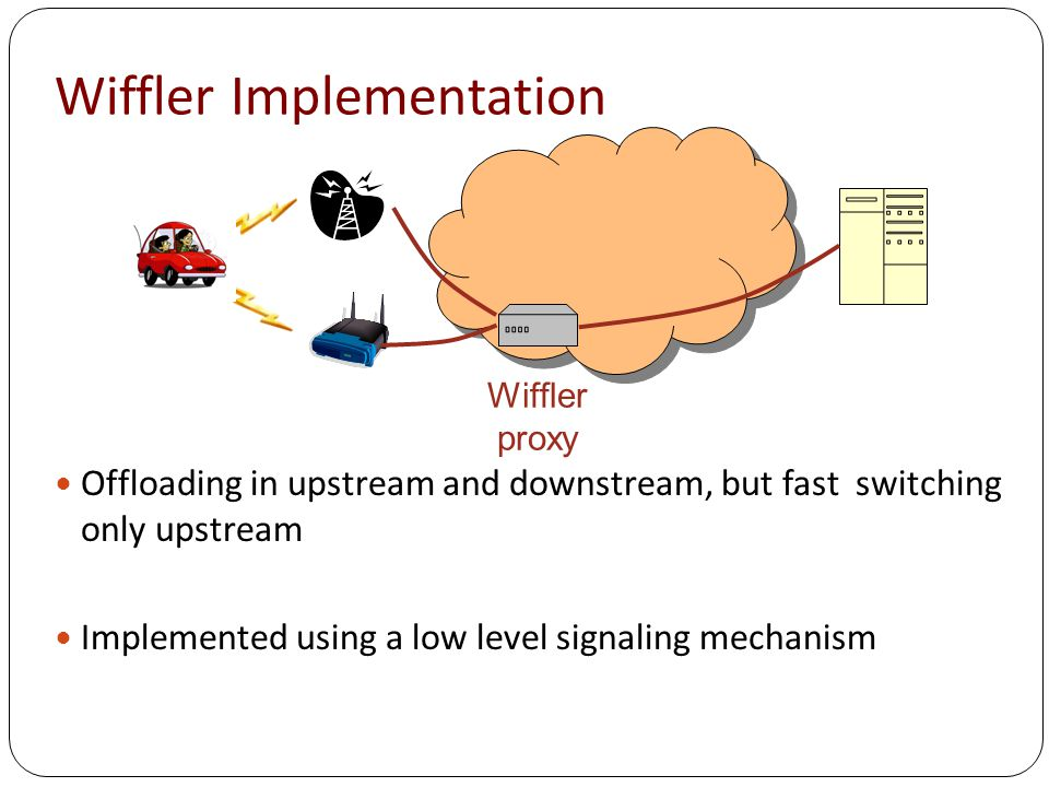 Wiffler Implementation Wiffler proxy Offloading in upstream and downstream, but fast switching only upstream Implemented using a low level signaling mechanism