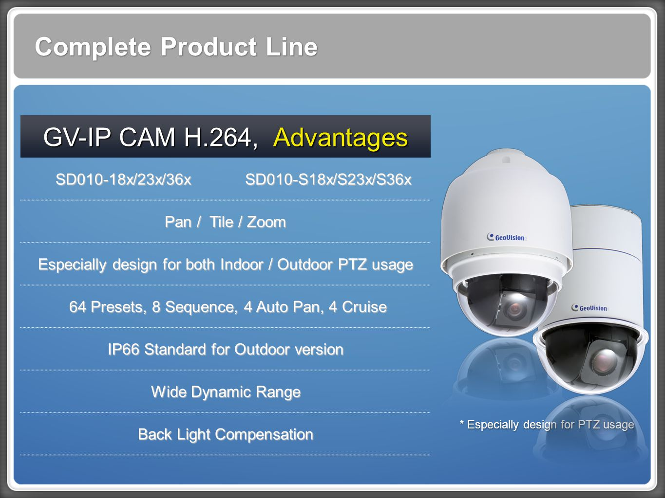 Complete Product Line GV-IP CAM H.264, Advantages SD010-18x/23x/36xSD010-S18x/S23x/S36x Pan / Tile / Zoom Especially design for both Indoor / Outdoor PTZ usage 64 Presets, 8 Sequence, 4 Auto Pan, 4 Cruise 64 Presets, 8 Sequence, 4 Auto Pan, 4 Cruise IP66 Standard for Outdoor version Wide Dynamic Range Back Light Compensation * Especially design for PTZ usage
