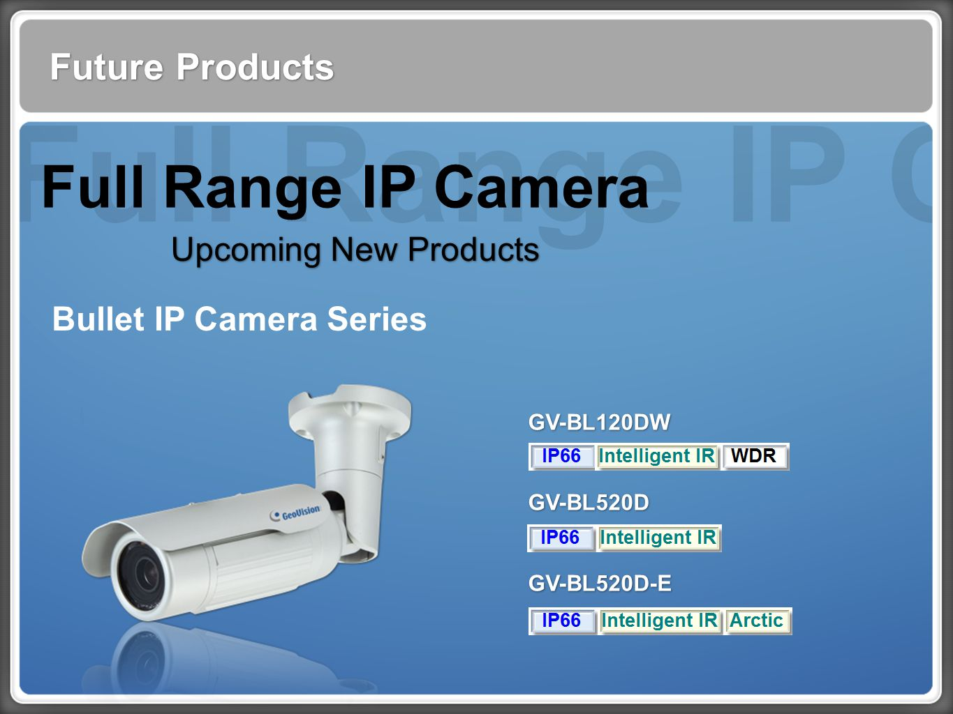 Full Range IP Cam Future Products Full Range IP Camera Upcoming New Products Bullet IP Camera Series GV-BL120DW GV-BL520D GV-BL520D-E GV-BL120DW GV-BL520D GV-BL520D-E