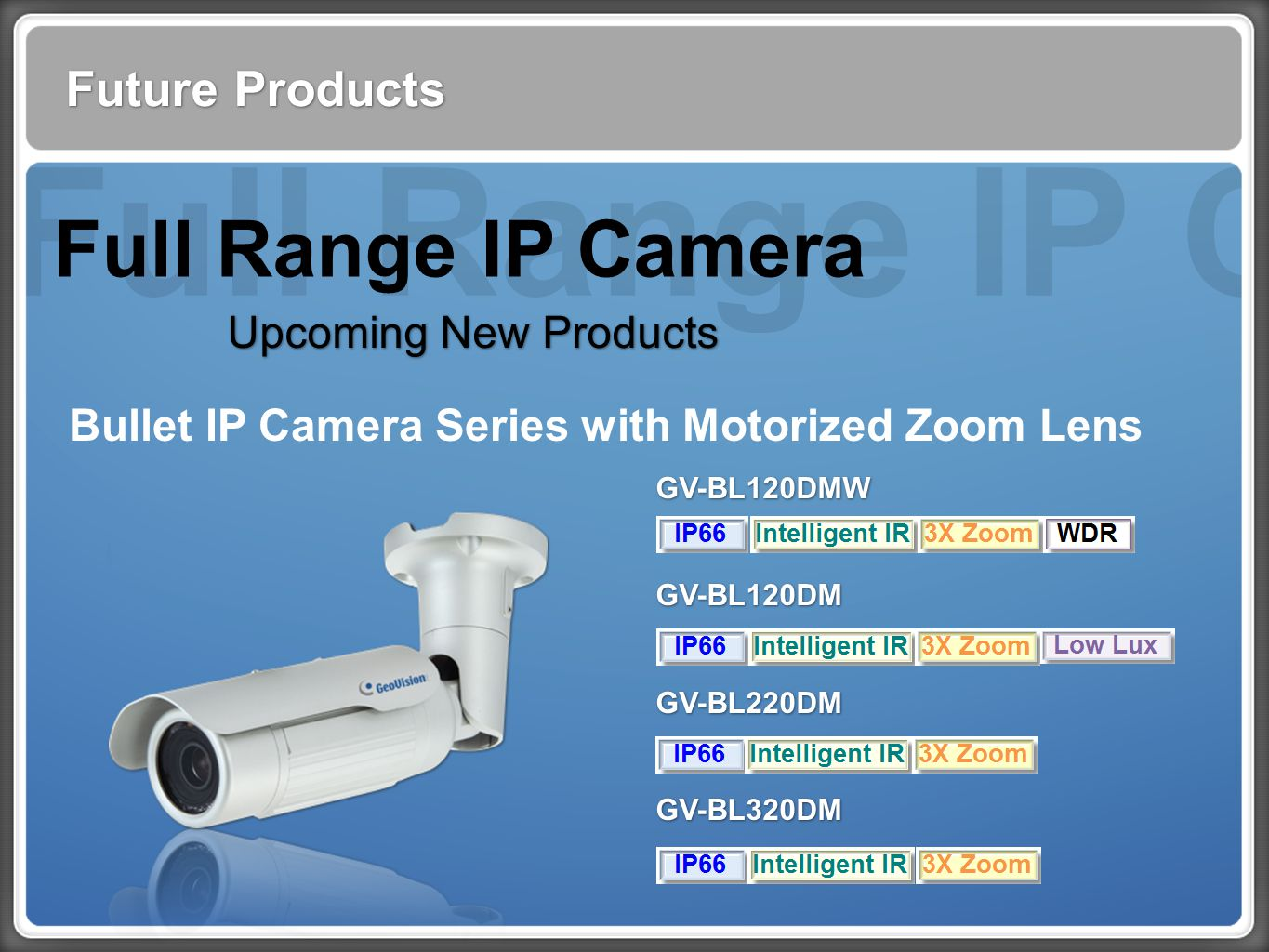 Full Range IP Cam Future Products Full Range IP Camera Upcoming New Products Bullet IP Camera Series with Motorized Zoom Lens GV-BL120DMW GV-BL120DM GV-BL220DM GV-BL320DM GV-BL120DMW GV-BL120DM GV-BL220DM GV-BL320DM