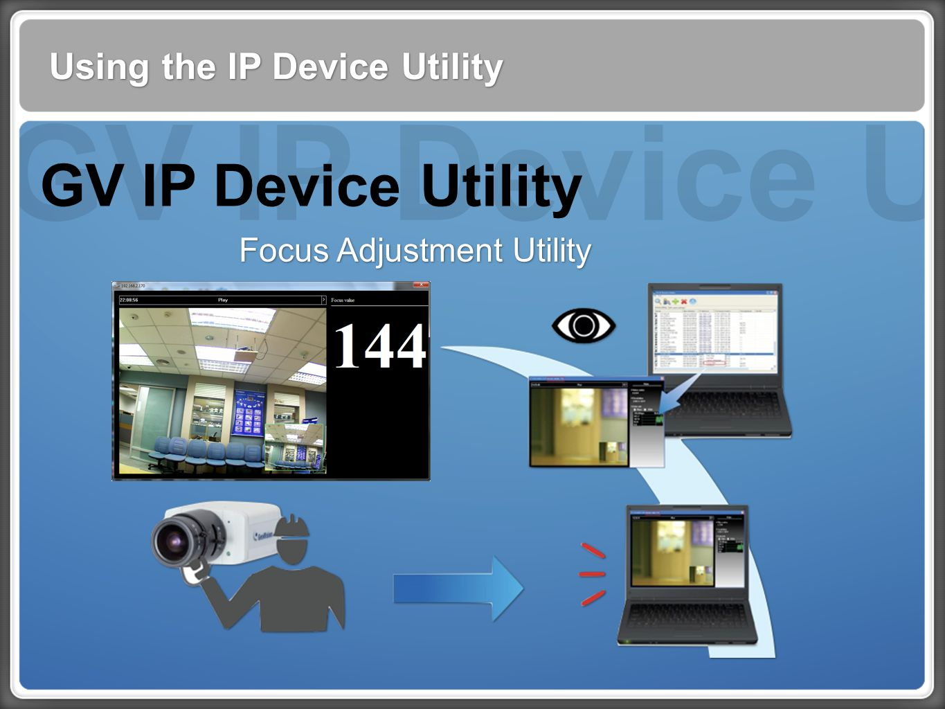 GV IP Device Utility Using the IP Device Utility GV IP Device Utility Focus Adjustment Utility