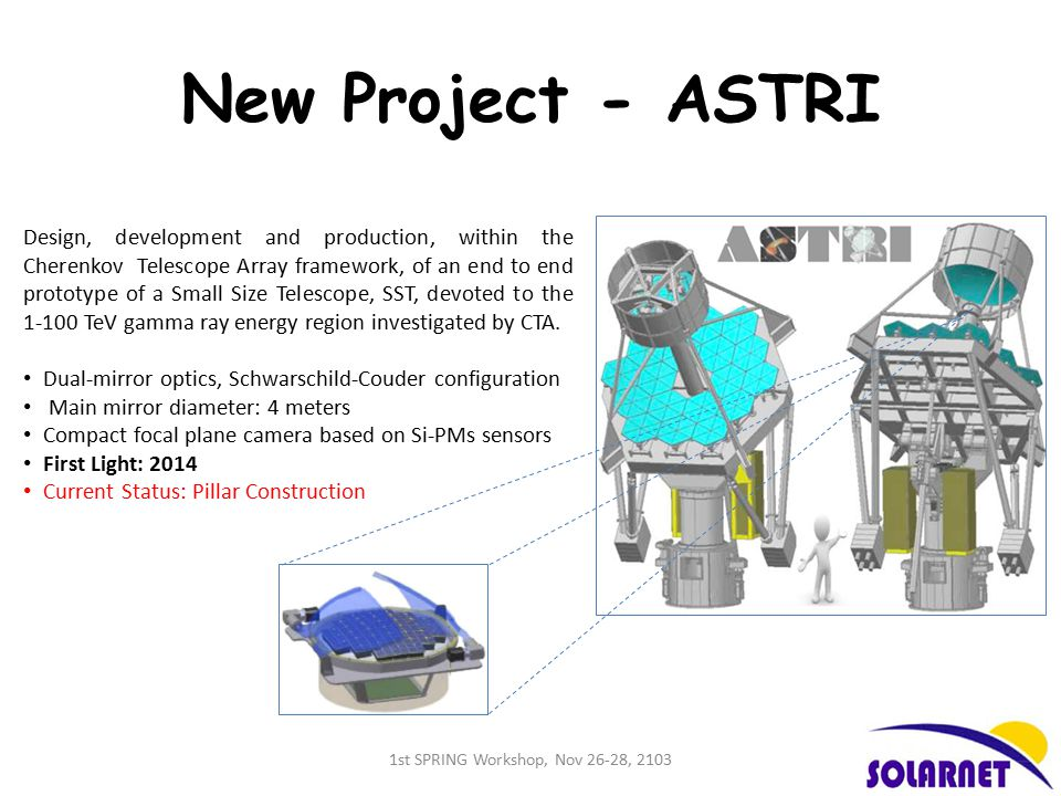 New Project - ASTRI Design, development and production, within the Cherenkov Telescope Array framework, of an end to end prototype of a Small Size Telescope, SST, devoted to the 1-100 TeV gamma ray energy region investigated by CTA.