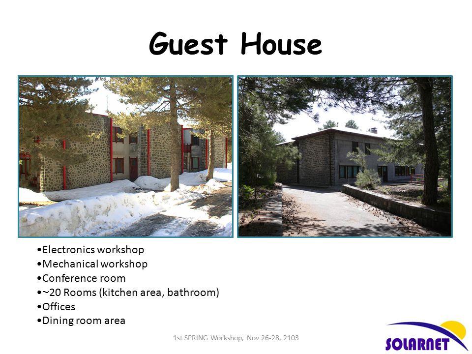 Guest House Electronics workshop Mechanical workshop Conference room  20 Rooms (kitchen area, bathroom) Offices Dining room area 1st SPRING Workshop, Nov 26-28, 2103
