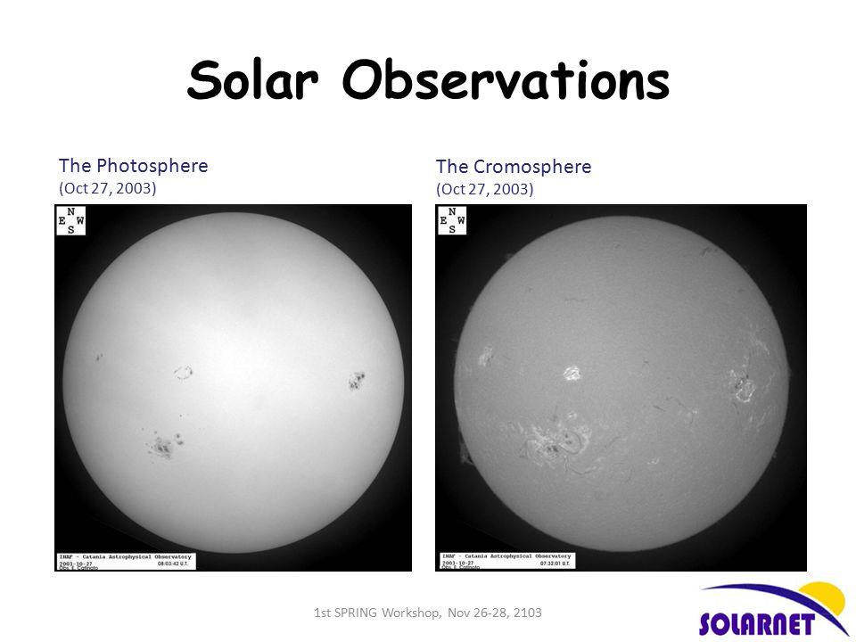 Solar Observations The Photosphere (Oct 27, 2003) The Cromosphere (Oct 27, 2003) 1st SPRING Workshop, Nov 26-28, 2103