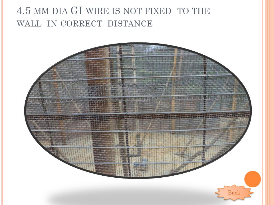 4.5 MM DIA GI WIRE IS NOT FIXED TO THE WALL IN CORRECT DISTANCE Back