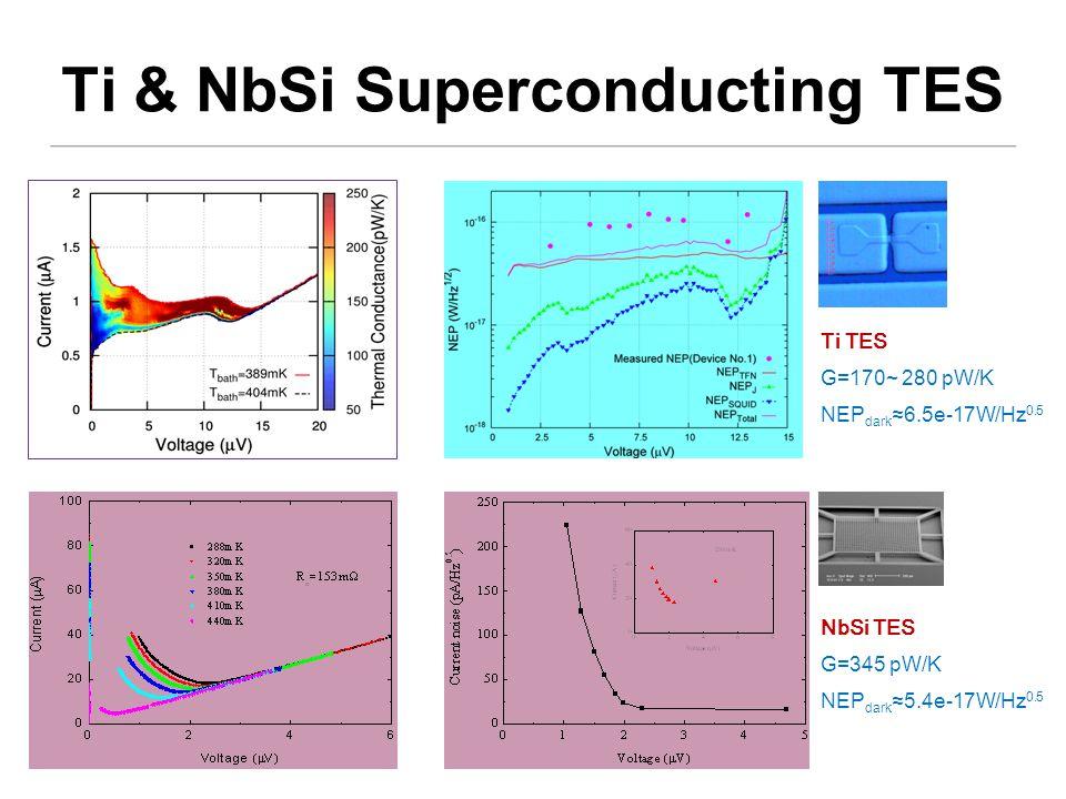Ti TES G=170~ 280 pW/K NEP dark ≈6.5e-17W/Hz 0.5 NbSi TES G=345 pW/K NEP dark ≈5.4e-17W/Hz 0.5 Ti & NbSi Superconducting TES