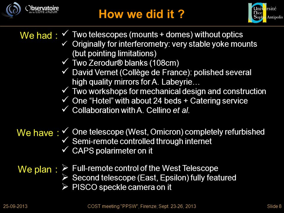 25-09-2013COST meeting PPSW , Firenze; Sept. 23-26, 2013Slide 8 How we did it .