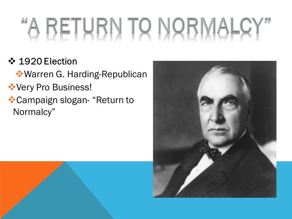  1920 Election  Warren G. Harding-Republican  Very Pro Business.