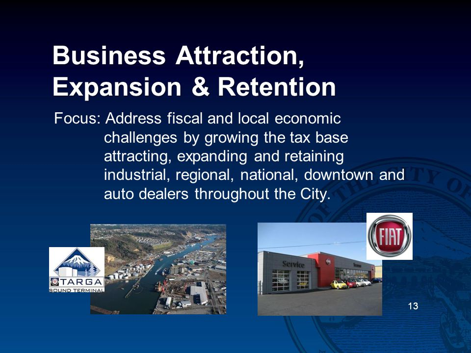 Business Attraction, Expansion & Retention Focus: Address fiscal and local economic challenges by growing the tax base attracting, expanding and retaining industrial, regional, national, downtown and auto dealers throughout the City.