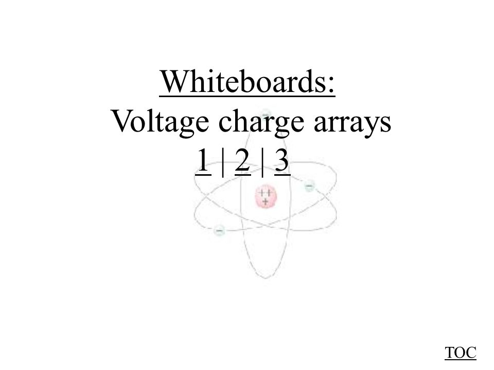 TOC Q2Q2 Q1Q1 +1.5  C +3.1  C 190 cm75 cm Find the voltage at point A: A Voltage at A is scalar sum of V 1 and V 2 : Voltage due to Q 1 : V 1 = kq 1