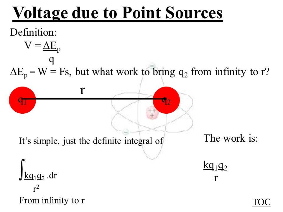 Voltage due to point sources Contents: Voltage due to one point charge Whiteboards Voltage due to many point charges Example Whiteboards Cute Voltage