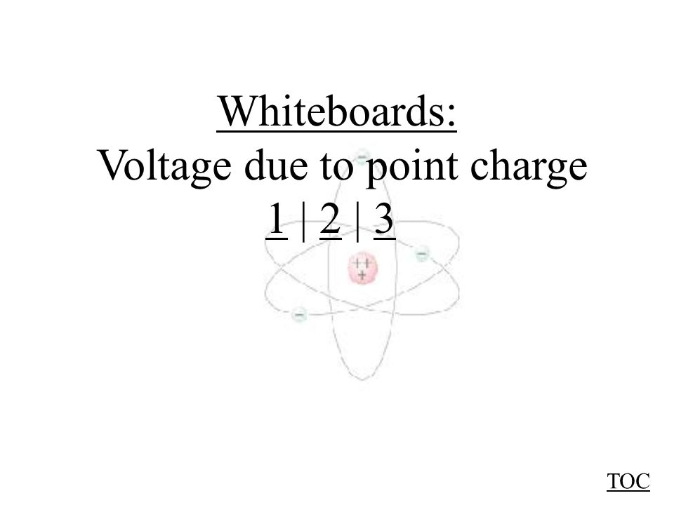 Voltage due to Point Sources TOC Definition: V = ΔE p q ΔE p = W = Fs, q1q1 r The voltage at point A is: V = kq r V = voltage at distance r q = charge of q 1 r = distance from q 1 A A van de Graaff generator has an 18 cm radius dome, and a charge of 0.83 μC.