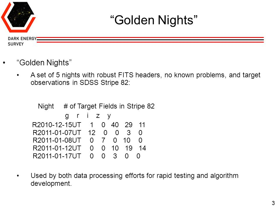3 Golden Nights A set of 5 nights with robust FITS headers, no known problems, and target observations in SDSS Stripe 82: Night # of Target Fields in Stripe 82 g r i z y R2010-12-15UT 1 0 40 29 11 R2011-01-07UT 12 0 0 3 0 R2011-01-08UT 0 7 0 10 0 R2011-01-12UT 0 0 10 19 14 R2011-01-17UT 0 0 3 0 0 Used by both data processing efforts for rapid testing and algorithm development.