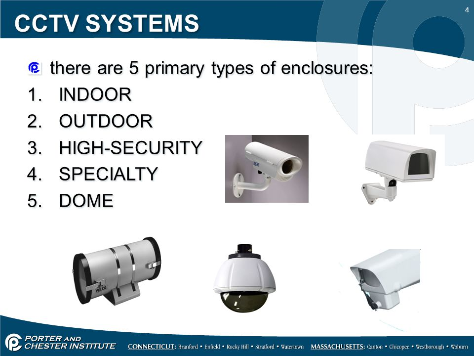 4 CCTV SYSTEMS there are 5 primary types of enclosures: 1.
