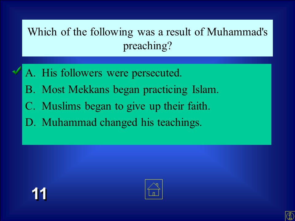 In 610 C.E., Muhammad went to a cave in the mountains to meditate. According to Islamic teachings, what happened while he was there? A.Muhammad learne