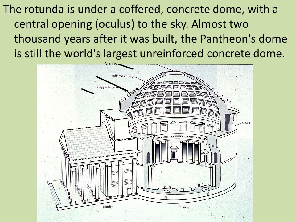 The rotunda is under a coffered, concrete dome, with a central opening (oculus) to the sky. Almost two thousand years after it was built, the Pantheon