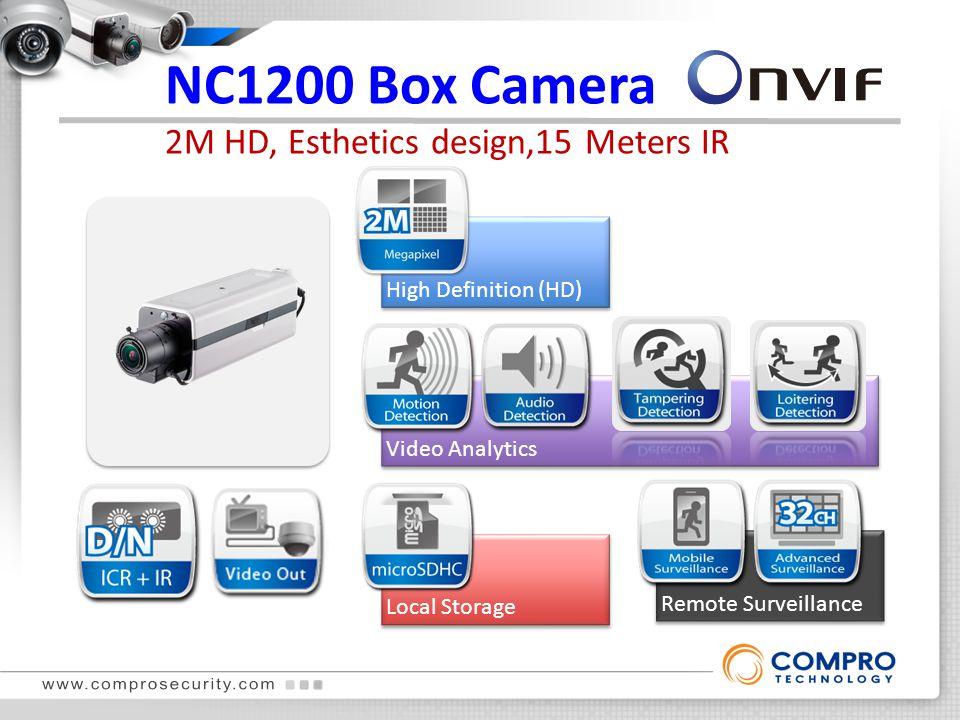 NC1200 Box Camera 2M HD, Esthetics design,15 Meters IR True Day & Night High Definition (HD) Local Storage Remote Surveillance Video Analytics