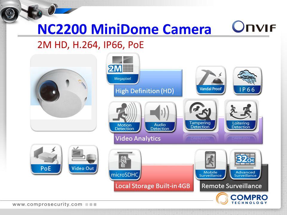 NC2200 MiniDome Camera 2M HD, H.264, IP66, PoE High Definition (HD)Onvif Local Storage Built-in 4GBRemote Surveillance Video Analytics