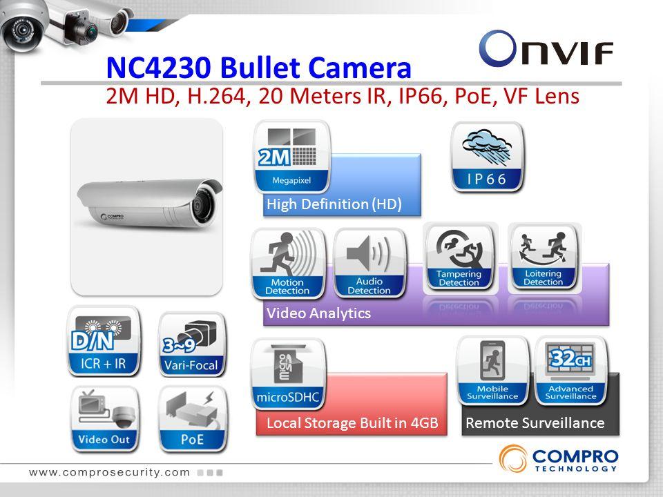 NC4230 Bullet Camera 2M HD, H.264, 20 Meters IR, IP66, PoE, VF Lens True Day & Night High Definition (HD) Local Storage Built in 4GBRemote Surveillance Video Analytics True Day & Night