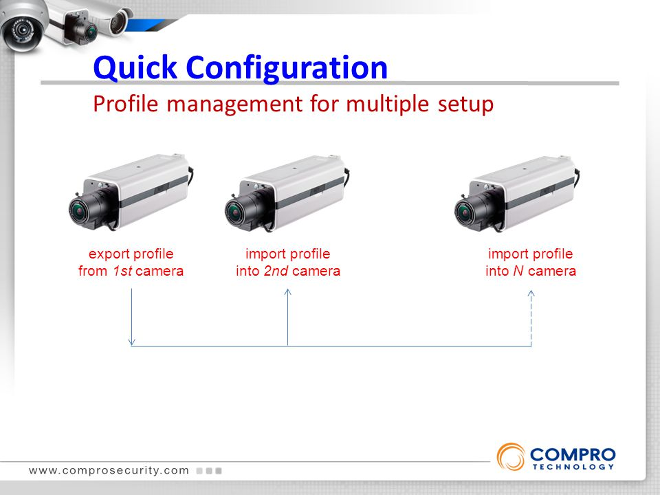 Quick Configuration Profile management for multiple setup export profile from 1st camera import profile into 2nd camera import profile into N camera