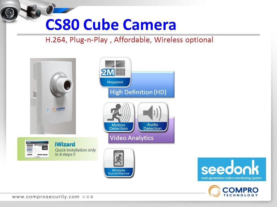 CS80 Cube Camera H.264, Plug-n-Play, Affordable, Wireless optional Plug-n-Play High Definition (HD) Audio Deterrence Video Analytics