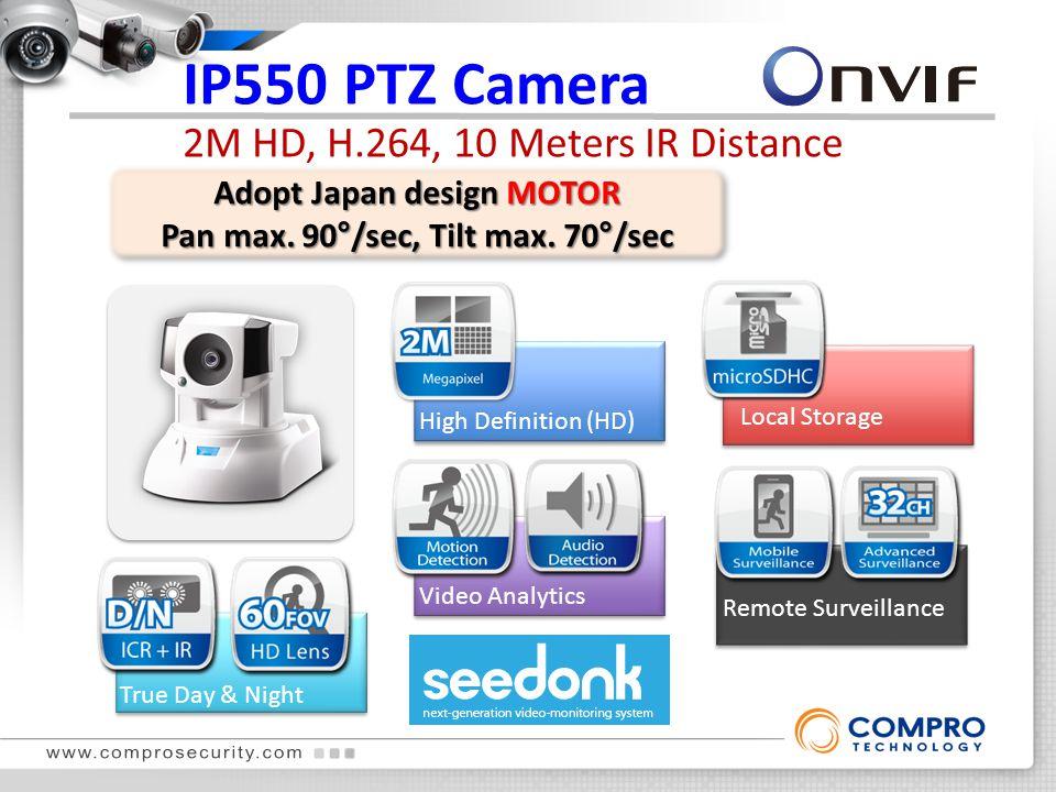 IP550 PTZ Camera 2M HD, H.264, 10 Meters IR Distance True Day & Night High Definition (HD) Local Storage Remote Surveillance Video Analytics Adopt Japan design MOTOR Pan max.