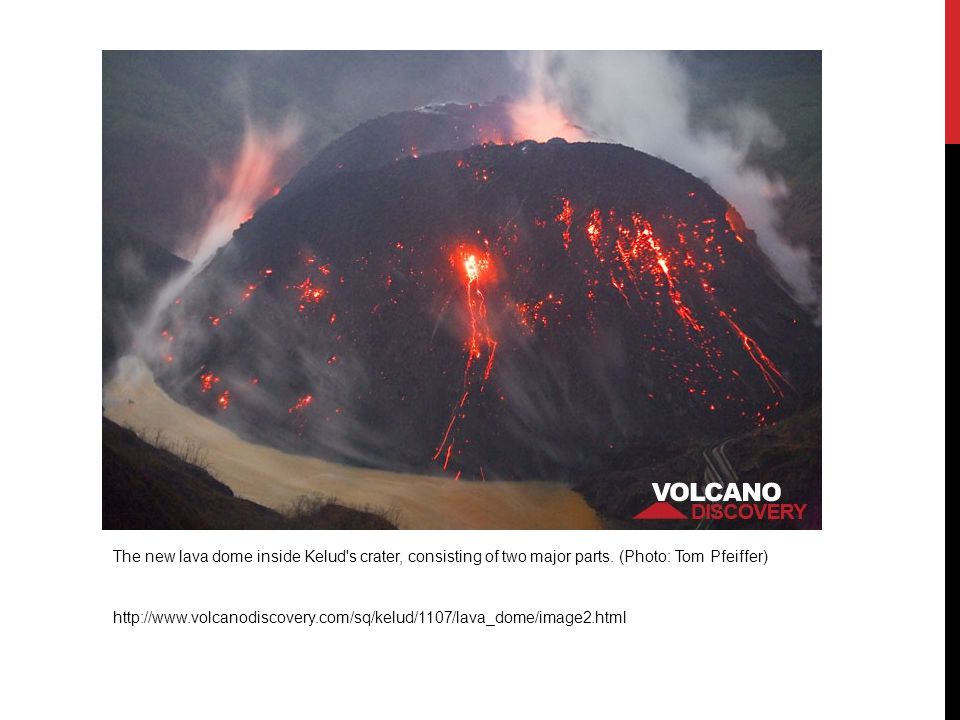 The new lava dome inside Kelud s crater, consisting of two major parts.