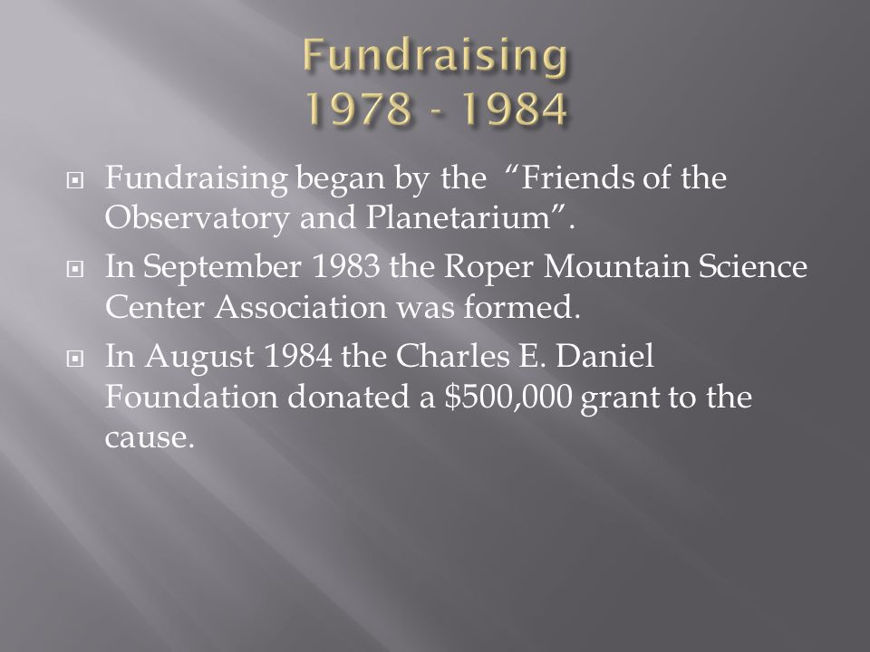  Fundraising began by the Friends of the Observatory and Planetarium .
