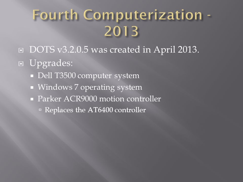  DOTS v3.2.0.5 was created in April 2013.