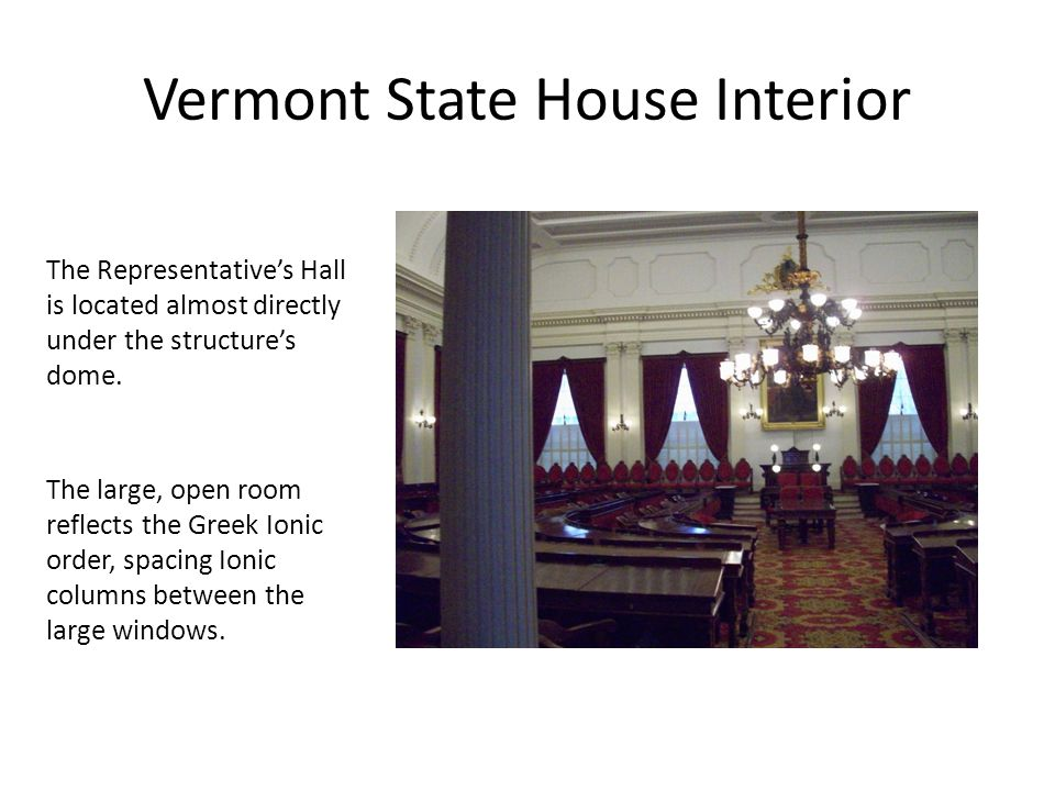 Vermont State House Interior The Representative's Hall is located almost directly under the structure's dome.