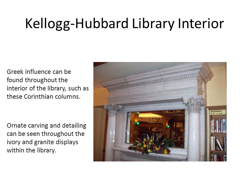 Kellogg-Hubbard Library Interior Ivory copies of the Parthenon frieze and renaissance facades line the walls of the library 4.