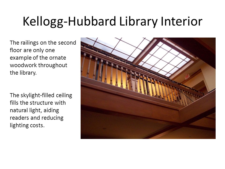 Kellogg-Hubbard Library Interior The railings on the second floor are only one example of the ornate woodwork throughout the library.