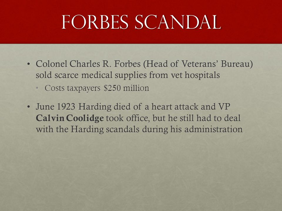 Forbes Scandal Colonel Charles R.