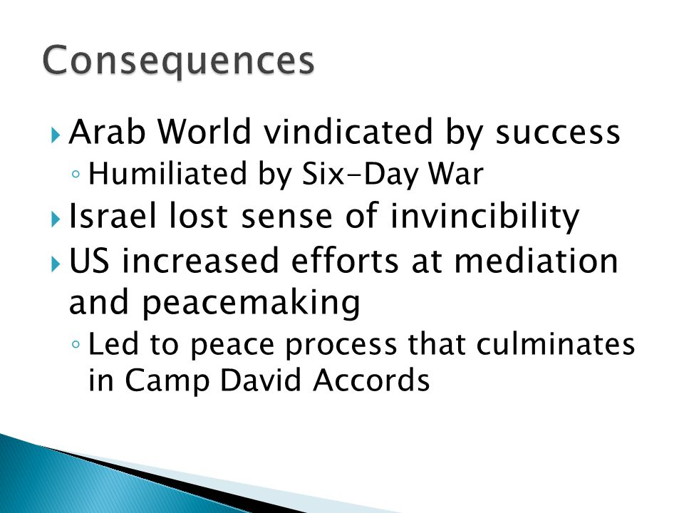  Arab World vindicated by success ◦ Humiliated by Six-Day War  Israel lost sense of invincibility  US increased efforts at mediation and peacemaking ◦ Led to peace process that culminates in Camp David Accords