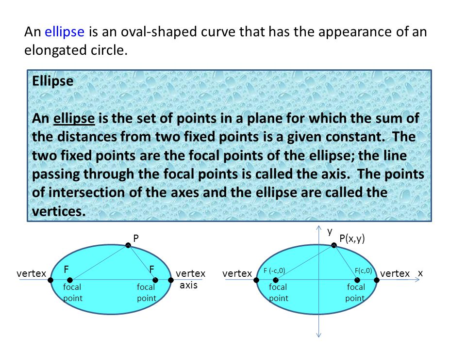 Ellipse An ellipse is the set of points in a plane for which the sum of the distances from two fixed points is a given constant.