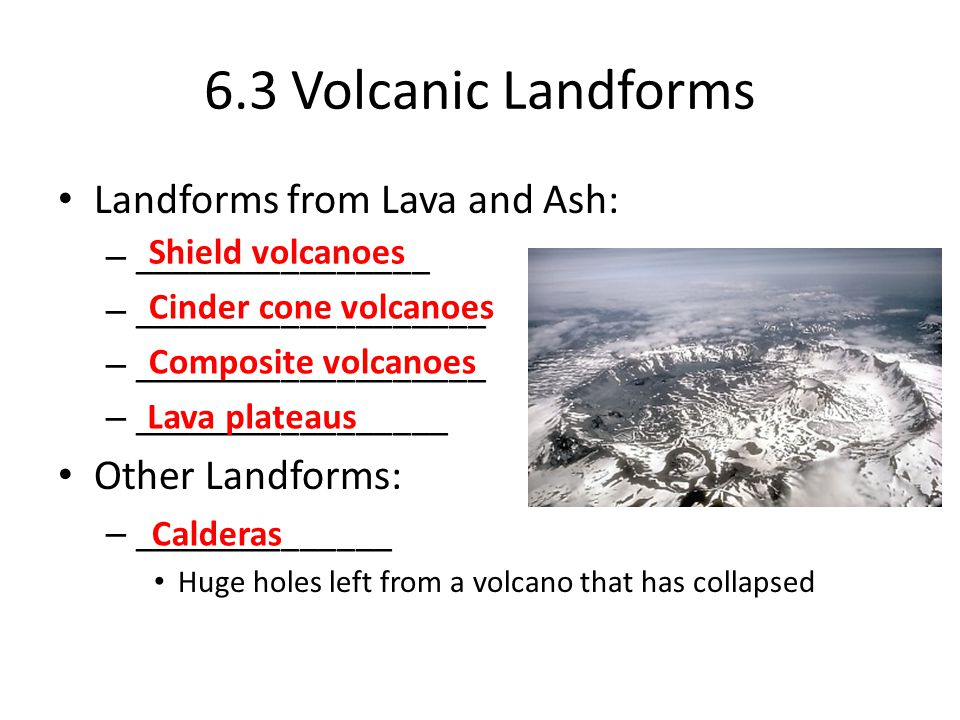 6.3 Volcanic Landforms Landforms from Lava and Ash: – ________________ – ___________________ – _________________ Other Landforms: – ______________ Huge holes left from a volcano that has collapsed Calderas Shield volcanoes Cinder cone volcanoes Composite volcanoes Lava plateaus