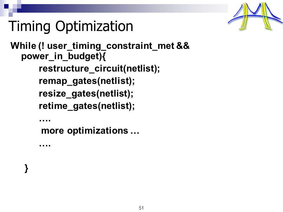51 Timing Optimization While (.