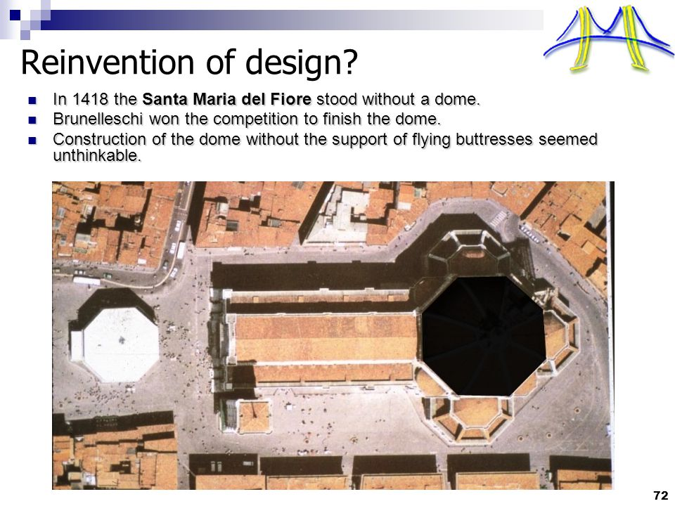 72 Reinvention of design. In 1418 the Santa Maria del Fiore stood without a dome.