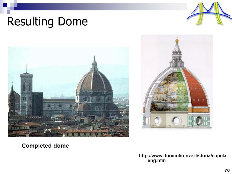 76 Resulting Dome Completed dome http://www.duomofirenze.it/storia/cupola_ eng.htm
