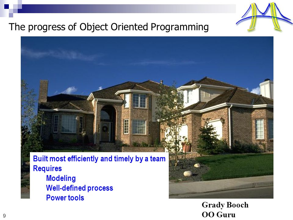 9 The progress of Object Oriented Programming Built most efficiently and timely by a team Requires Modeling Well-defined process Power tools Grady Booch OO Guru